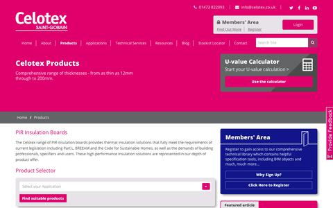 Screenshot of Products Page celotex.co.uk - Celotex PIR Insulation Boards - captured July 19, 2017