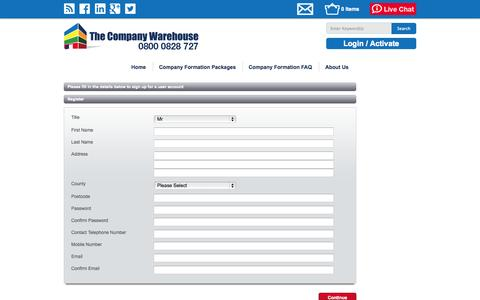 Screenshot of Signup Page thecompanywarehouse.co.uk - Register For Access To My Company Warehouse | TheCompanyWarehouse.co.uk - captured Sept. 23, 2014