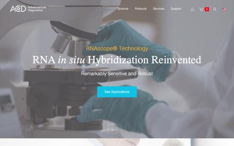 Screenshot of Home Page Login Page acdbio.com - In Situ Hybridization, RNA-ISH, RNA Probes | AcdBio.com - captured Jan. 28, 2016