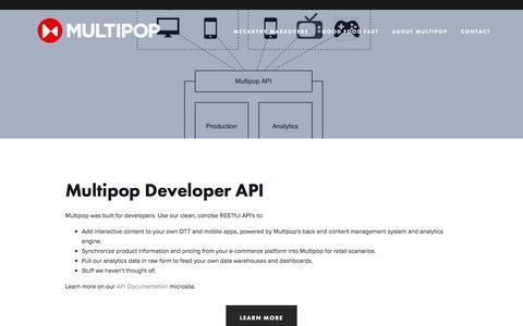 Screenshot of Developers Page getmultipop.com - API — Multipop - captured Feb. 26, 2017