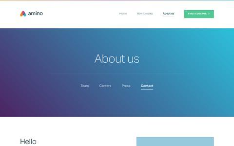 Screenshot of Contact Page amino.com - Contact us - Amino - captured Nov. 6, 2015