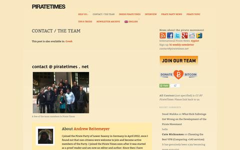 Screenshot of Team Page piratetimes.net - Contact / The Team – PirateTimes - captured Nov. 22, 2018