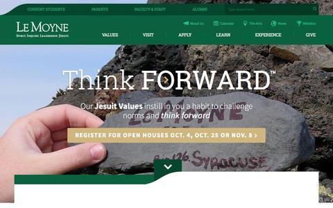 Screenshot of Home Page lemoyne.edu - Think Forward Think Le Moyne College - captured Oct. 1, 2015
