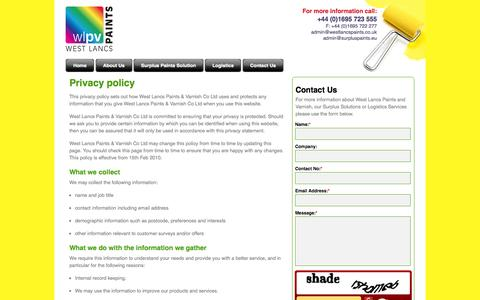 Screenshot of Privacy Page westlancspaints.co.uk - West Lancs Paints | Surplus Paint Reworking | Recycling | Logistics | Contact Us - captured Oct. 9, 2014