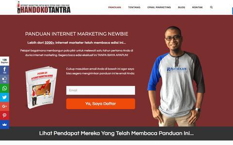 Screenshot of Home Page handokotantra.com - Belajar Digital Marketing: Download Panduan PDF nya Sekarang! - captured Sept. 22, 2018