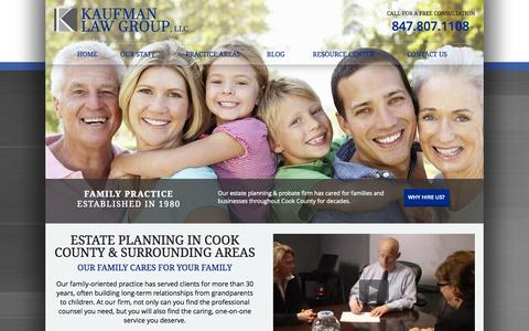 Screenshot of Home Page kaufmanlawgroup.com - Cook County Estate Planning Lawyer | Kaufman Law Group, LLC - captured Sept. 6, 2015