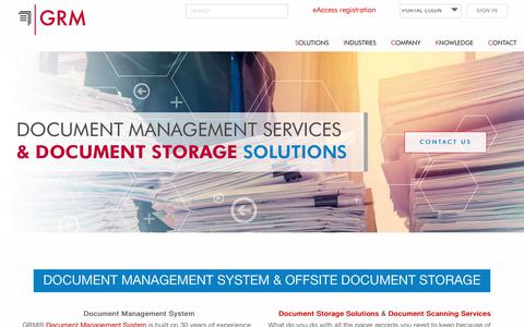 Screenshot of Services Page grmdocumentmanagement.com - Document Management Services, Systems, and Offsite Document Storage - captured Feb. 21, 2018