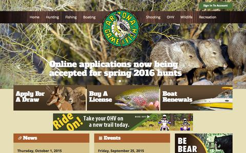 Screenshot of Home Page az.gov - Arizona Game & Fish Department - Home Page - captured Oct. 1, 2015