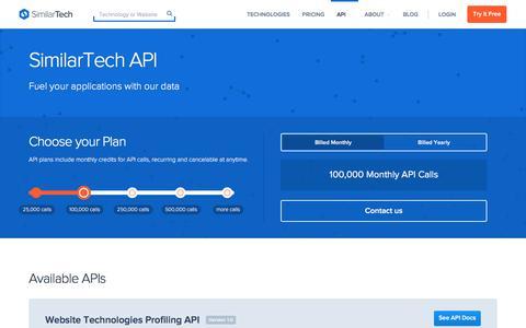 Screenshot of similartech.com - SimilarTech API - captured Jan. 27, 2017