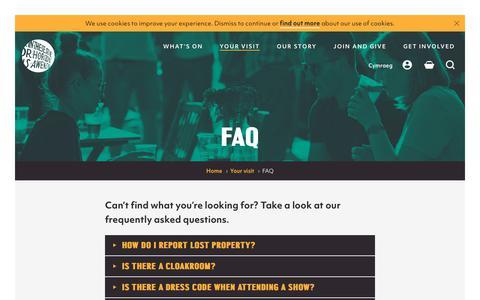 Screenshot of FAQ Page wmc.org.uk - FAQ | Wales Millennium Centre - captured Oct. 20, 2018