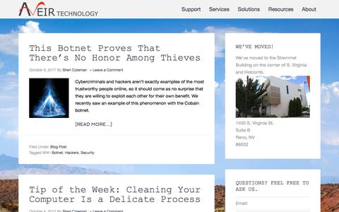 Screenshot of Blog aveir.com - Blog – Aveir Technology, Call 775-329-2400 Reno NV - captured Oct. 9, 2017