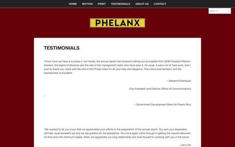 Screenshot of Testimonials Page phelanx.com - TESTIMONIALS | Phelanx - captured Oct. 2, 2014
