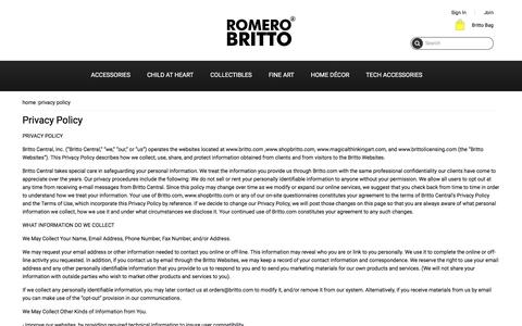 Screenshot of Privacy Page shopbritto.com - Privacy Policy - captured Dec. 26, 2016