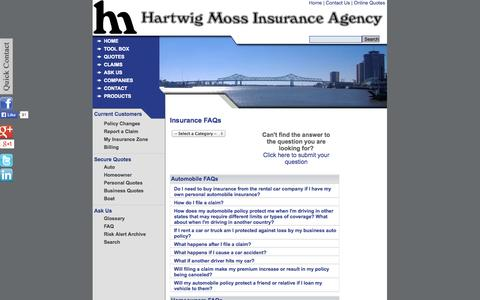 Screenshot of FAQ Page hmia.com - FAQs - Hartwig Moss Insurance Agency - New Orleans, Louisiana 70119 - captured Oct. 2, 2014
