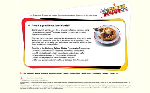 Screenshot of Trial Page goldenmalted.co.nz - Carbon's Golden Malted Waffles New Zealand - Trial - Kindleberry Ltd, supplier of industrial waffle irons, just add water waffle mix and commercial and hospitality Better Batter dispensers for self-service breakfast buffets or dinner dessert menus in - captured Feb. 12, 2016