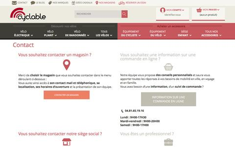 Screenshot of Contact Page Services Page cyclable.com - Contact - Réseau Cyclable - captured Sept. 14, 2016