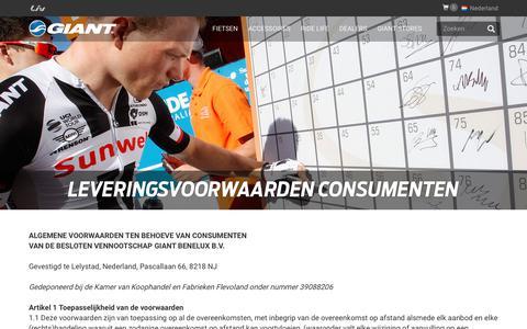 Screenshot of Terms Page giant-bicycles.com - Company Leveringsvoorwaarden consumenten - Giant Bicycles   Nederland - captured Dec. 11, 2017