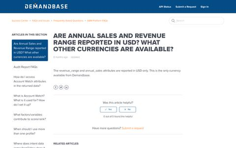 Screenshot of Support Page demandbase.com - Are Annual Sales and Revenue Range reported in USD? What other currencies are available? – Success Center - captured Nov. 6, 2019