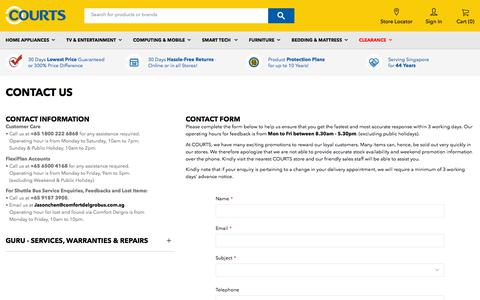 Screenshot of Contact Page courts.com.sg - Contact Us - captured Sept. 23, 2018