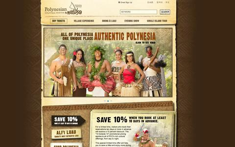Screenshot of Home Page polynesia.com - Polynesian Cultural Center Official Site - Best Luau Oahu, Hawaii - captured Sept. 25, 2014