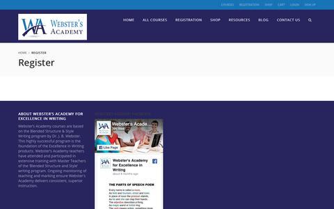 Screenshot of Signup Page webstersacademy.com - Register – Webster's Academy - captured Oct. 19, 2018