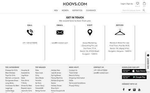 Screenshot of Contact Page koovs.com - Koovs - captured Jan. 14, 2020