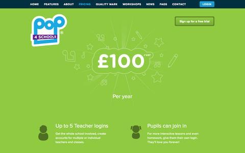 Screenshot of Pricing Page pop4schools.com - Pricing   Pop4Schools - captured Sept. 30, 2014