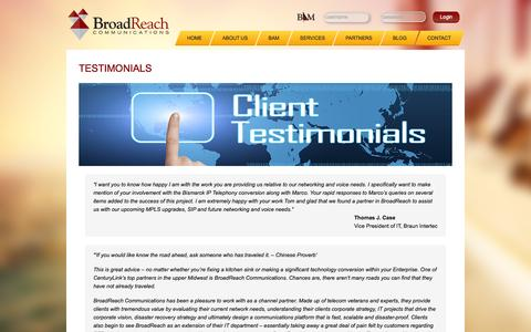 Screenshot of Testimonials Page broadrch.com - BroadReach Communications - Customer Testimonials - captured Oct. 5, 2014