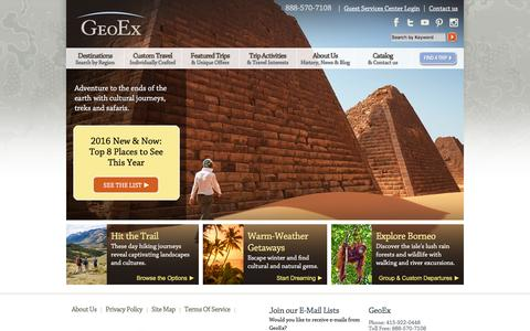 Screenshot of Home Page geoex.com - GeoEx Adventure Travel | Luxury Tours and Custom Travel - captured Jan. 27, 2016