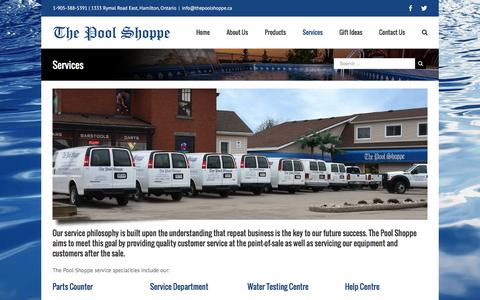 Screenshot of Services Page thepoolshoppe.ca - Parts, Service, Water Testing, Maintenance | The Pool Shoppe - captured Aug. 15, 2016