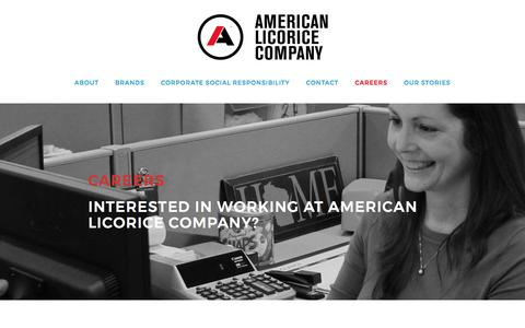Screenshot of Jobs Page americanlicorice.com - Careers - captured July 5, 2017