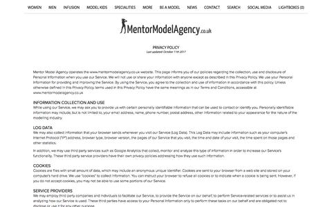 Screenshot of Privacy Page mentormodelagency.co.uk - Privacy policy | Mentor Model Agency Sheffield - captured Sept. 20, 2018