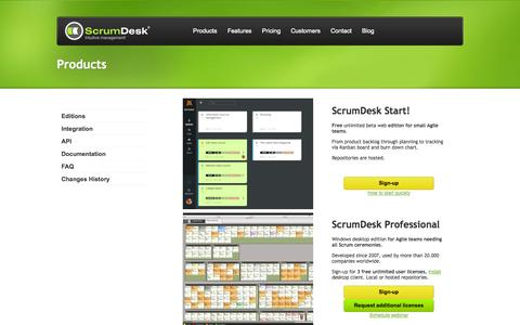 Screenshot of Products Page scrumdesk.com - Products :: ScrumDesk – scrum project management tool - captured Sept. 23, 2014