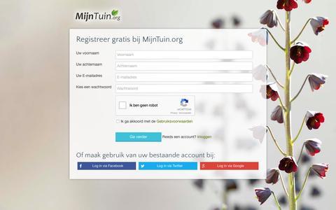 Screenshot of Signup Page mijntuin.org captured Jan. 20, 2016