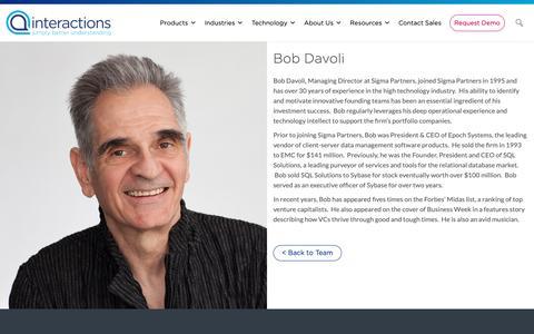 Screenshot of Team Page interactions.com - Bob Davoli - Interactions - captured Feb. 8, 2019