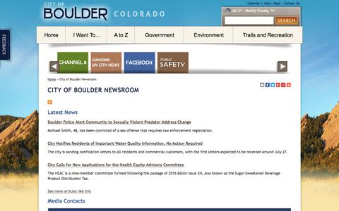 Screenshot of Press Page bouldercolorado.gov - City of Boulder Newsroom - captured Aug. 1, 2017