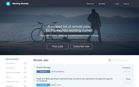 Screenshot of Jobs Page workingnomads.co - Remote Jobs | Working Nomads - captured Aug. 1, 2016
