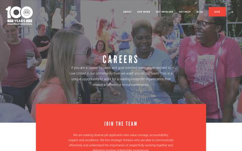 Screenshot of Jobs Page uwci.org - Careers - United Way Central Indiana - captured Oct. 24, 2017