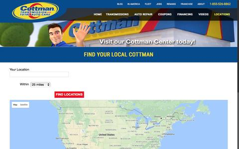 Screenshot of Locations Page cottman.com - Locations - Cottman Transmission & Total Auto Care - captured Nov. 13, 2016