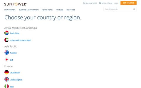 Screenshot of Locations Page sunpower.com - Choose your country or region. | SunPower - captured March 19, 2019