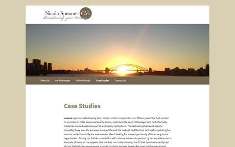 Screenshot of Case Studies Page nicolaspoonercvs.com - Case Studies | Nicola Spooner CVs - captured Oct. 26, 2014