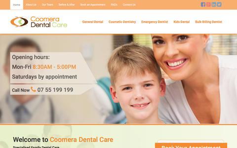 Screenshot of Home Page coomeradentalcare.com.au - Dental   Dentistry   Gold Coast   Coomera Dental Care - captured Dec. 12, 2015