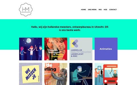 Screenshot of Home Page hollandsemeesters.nl - hollandse meesters - ontwerp, web design, animatie, infographics - captured July 19, 2016