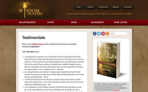 Screenshot of Testimonials Page wisdomhunters.com - Wisdom Hunters Daily Devotional  » Testimonials - captured Sept. 30, 2014