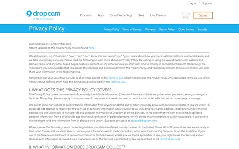 Screenshot of Privacy Page dropcam.com - Dropcam's Privacy Policy - captured Sept. 15, 2014