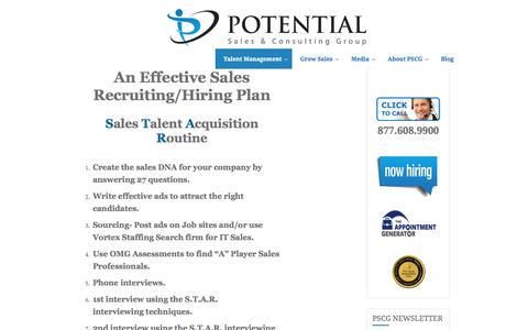 Potential Sales Group | An Effective Sales Recruiting / Hiring Plan