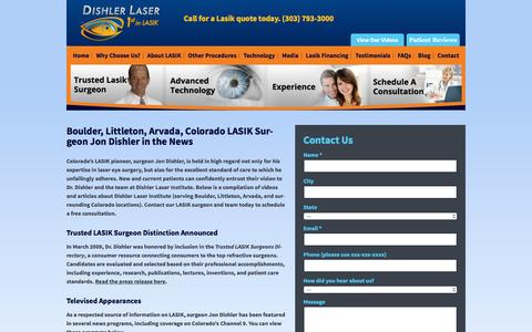 Screenshot of Press Page dishler.com - LASIK Surgeon Jon Dishler in the News | Dishler Laser Institute - captured Jan. 20, 2016