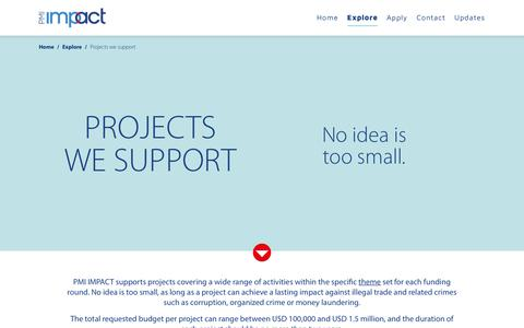Screenshot of Support Page pmi-impact.com - PMI Impact - Explore We Support - captured Nov. 3, 2018