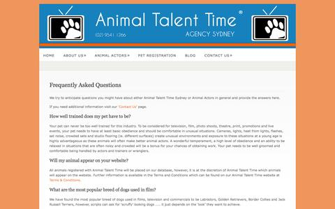 Screenshot of FAQ Page animaltalenttime.com.au - Frequently Asked Questions  @  Animal Talent Time Agency - captured Sept. 26, 2014