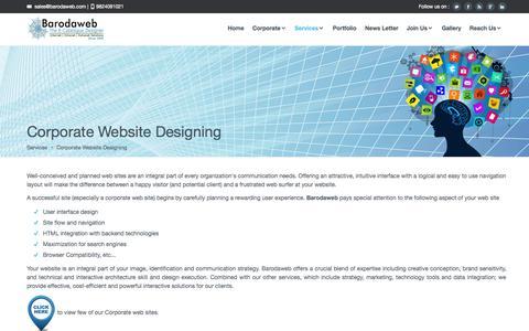 Screenshot of Services Page barodaweb.com - Corporate   E Catalogue designing   Static Website Designing - captured Oct. 5, 2014